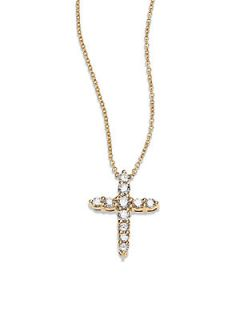 Roberto Coin Diamond & 18K Yellow Gold Cross Pendant Necklace   Gold