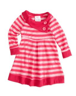 Striped Slub Knit Dress, Pink, 2T 4T
