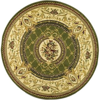 Lyndhurst Collection Traditional Sage/ Ivory Rug (53 Round)