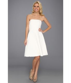 Badgley Mischka Strapless Textured Cocktail Womens Dress (White)