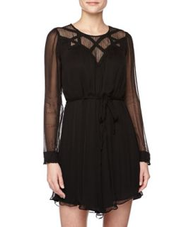 Long Sleeve Lace Chiffon Dress, Black