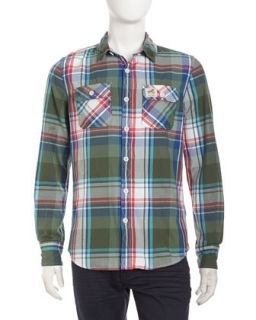 Plaid Flannel Long Sleeve Shirt, Green Check
