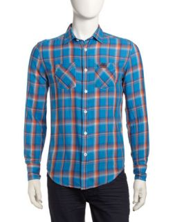 Ombre Check Long Sleeve Pocket Shirt, Blue