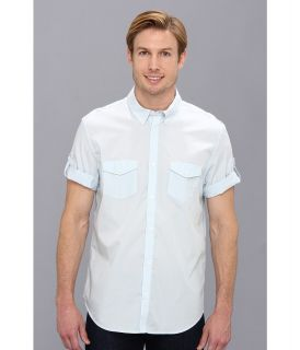 Calvin Klein Yarn Dyed Mini Stripe Poplin Button Down Shirt Mens Short Sleeve Button Up (White)