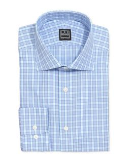Long Sleeve Checked Poplin Dress Shirt, Lapis