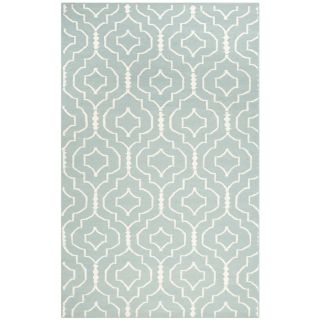 Safavieh Hand woven Moroccan Dhurrie Light Blue/ Ivory Contemporary Wool Rug (4 X 6)