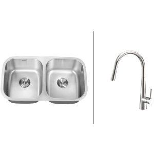 Ruvati RVC2522 Combo Stainless Steel Kitchen Sink and Chrome Faucet Set
