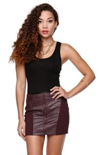 Womens Lush Skirt   Lush Faux Leather Zipper Skirt