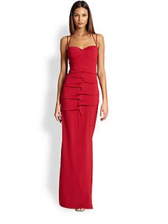 Nicole Miller Stretch Matte Jersey Gown   Red