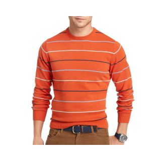Izod Fine Gauge V Neck Sweater, Orange, Mens