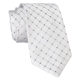 Stafford Dotted Grid Silk Tie, White, Mens