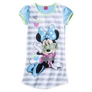Disney Minnie Mouse Girls Short Sleeve Nightgown   Blue M