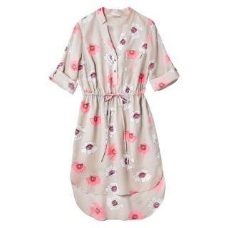 Merona Womens Drawstring Shirt Dress   Pink Floral   XXL