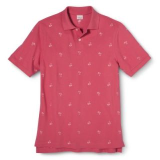 Mens Classic Fit Print Polo Shirt SS Pink L