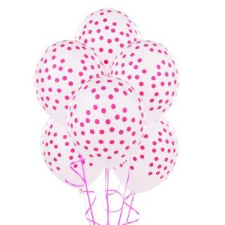 White with Pink Dots Balloons
