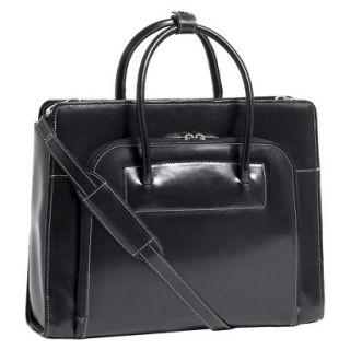 Ladies Leather Laptop Case with Removable Sleeve   Black
