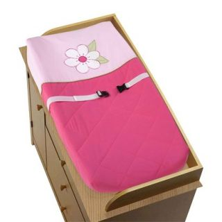 Pink and Green Flower Changing Pad Cover