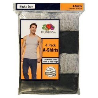 Fruit of the Loom Mens A Shirts 4 Pack   Black/Grey 3XL