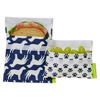 LunchSkins Reusable Sandwich and Reusable Snack Bag   Blue Dog