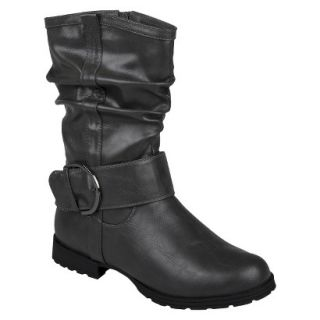 Womens Bamboo By Journee Slouchy Buckle Boots   Grey 6
