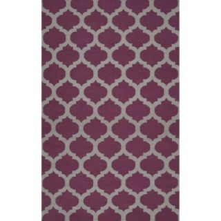 Fretwork Flat Weave Area Rug   Wine (5x8)