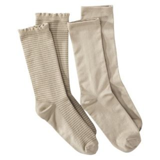 Merona Womens 2 Pack Crew Socks   Stripe Texture One Size Fits Most