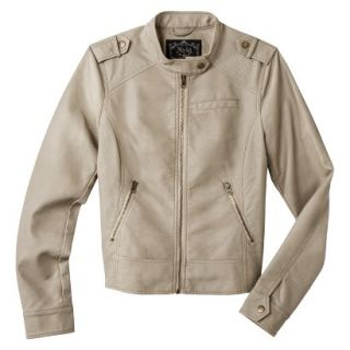 Coffee Shop Womens Faux Leather Jacket  Cream L