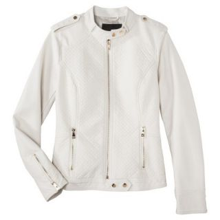 Mossimo Womens Faux Leather Jacket  White L