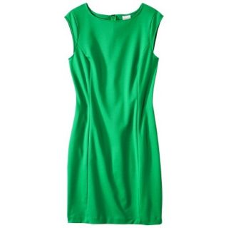 Merona Petites Sleeveless Ponte Sheath Dress   Green XSP