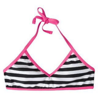 Girls Striped Halter Bikini Swimsuit Top   Black/White S