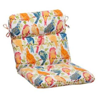 Outdoor Rounded Chair Cushion   White/Orange Birds