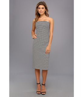 Nicole Miller Striped Ponte Strapless Dress Womens Dress (Black)
