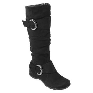 Womens Bamboo By Journee Slouchy Buckle Boots   Black 9W