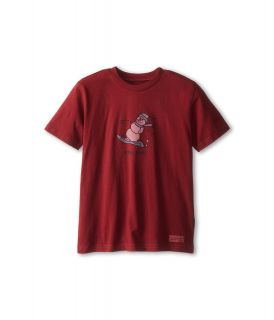 Life is good Kids Crusher Snowman Snowboard Tee Boys T Shirt (Red)