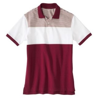 Mens Classic Fit Colorblock Polo Shirt Radish Maroon Red White Grey stripe XXL