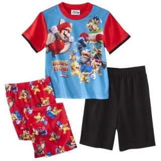 Super Mario Brothers Boys 3 Piece Short Sleeve Pajama Set   8 Red