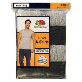Fruit of the Loom Mens A Shirts 4 Pack   Black/Grey L
