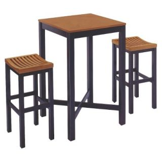 Bar Height Table Set Home Styles Bar Table with 2 Stools   Black/Medium Brown