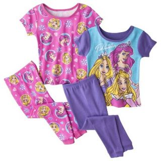 Disney Princess Toddler Girls 4 Piece Short Sleeve Pajama Set   Pink 3T