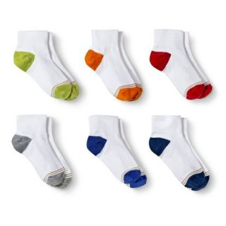 Signature GOLD by GoldToe Boys 6 Pack Color Block Heel Ankle Socks   White M