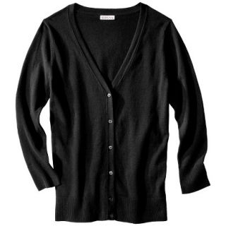Merona Womens Ultimate 3/4 Sleeve Crew Neck Cardigan   Black   M