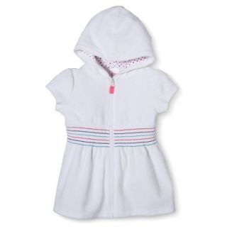 Circo Infant Toddler Girls Hooded Cover Up Dress   White 9 M
