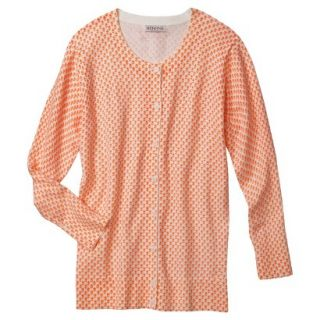 Merona Womens Ultimate 3/4 Sleeve Crew Neck Cardigan   Hot Orange Print  M