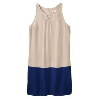 Merona Womens Colorblock Hem Shift Dress   Beige/Waterloo Blue   18