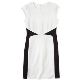 Mossimo Womens Colorblock Scuba Dress   White/Black XS