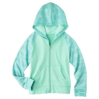 C9 by Champion Girls Tech Fleece Full Zip Hoodie   Spring Green S