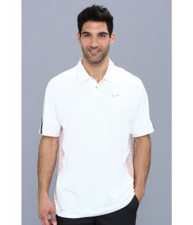 Nike Golf Tiger Woods Engineered Stripe Polo Mens Short Sleeve Knit (White)