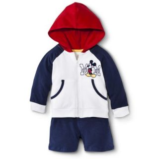 Disney Newborn Boys 2 Piece Mickey Mouse Set   White/Blue/Red NB