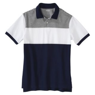 Mens Classic Fit Colorblock Polo Shirt Navy White grey stripe Voyage S