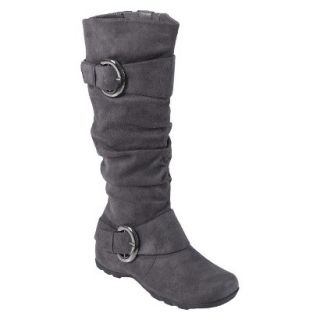 Womens Bamboo By Journee Slouchy Buckle Boots   Grey 8.5W